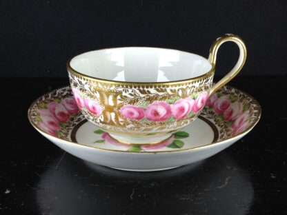 Coalport cup & saucer dec. with roses in the Welsh manner, c.1825 -5380