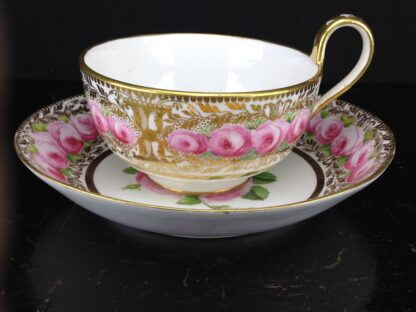 Coalport cup & saucer dec. with roses in the Welsh manner, c.1825 -5381
