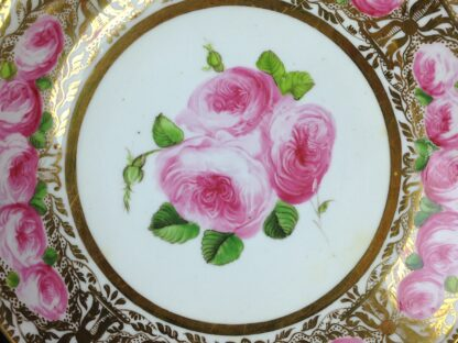 Coalport cup & saucer dec. with roses in the Welsh manner, c.1825 -5382