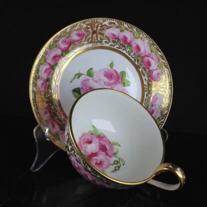 Coalport cup & saucer dec. with roses in the Welsh manner, c.1825 -5386