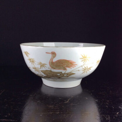 Worcester slop bowl, painted with gilt crane pattern, London decorated, probably Giles, c.1775 -0