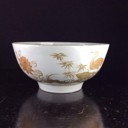 Worcester slop bowl, painted with gilt crane pattern, London decorated, probably Giles, c.1775 -6412