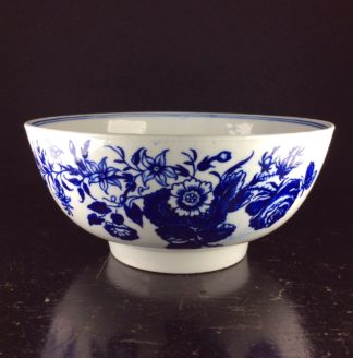 Lowestoft punch bowl, Three Flowers pattern after Worcester, c. 1780 -0
