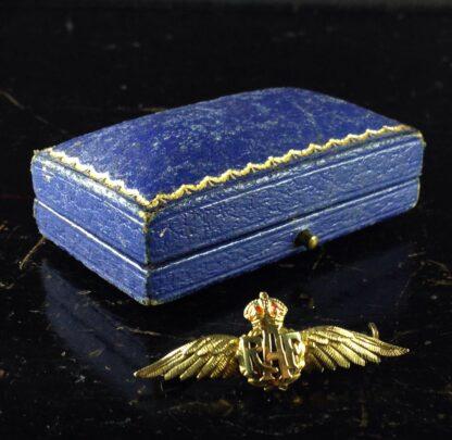 Gold RAF badge, 'sweethearts' brooch, WWII-0