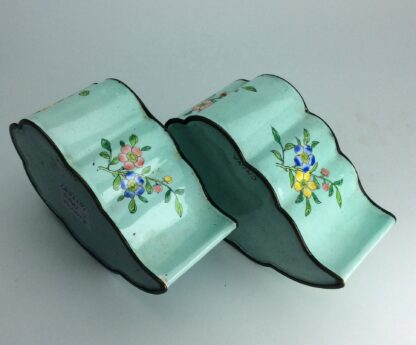Chinese enamel leaf shape dishes, flowers, C 1900. -6243