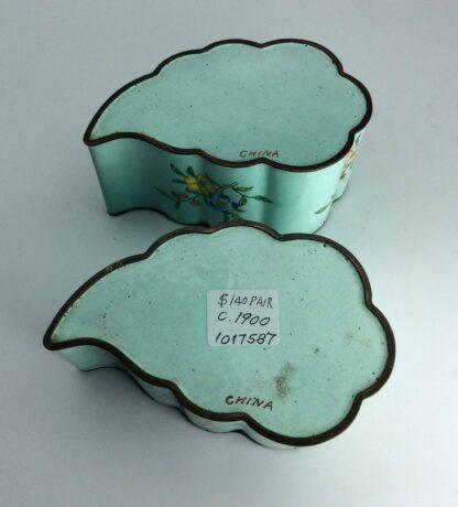 Chinese enamel leaf shape dishes, flowers, C 1900. -6244