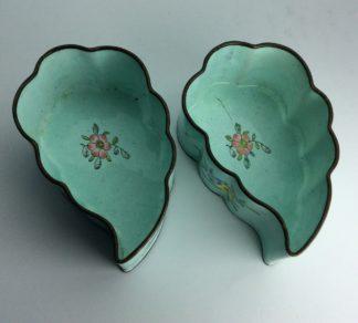 Chinese enamel leaf shape dishes, flowers, C 1900. -0