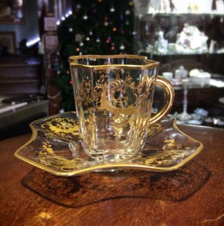 Moser glass cup & saucer, c.1890-0