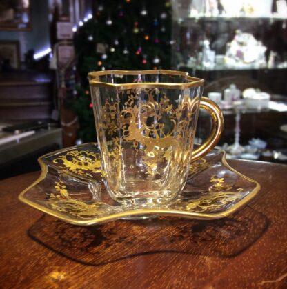 Moser glass cup & saucer, c.1890-0