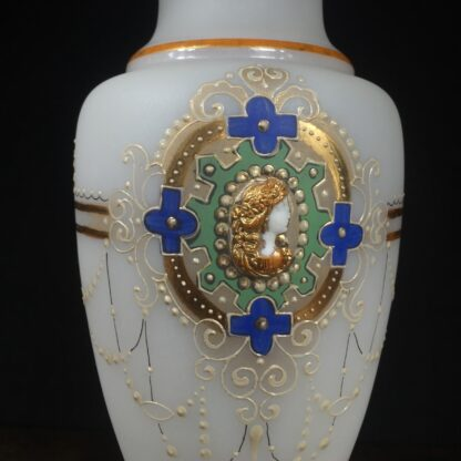 Large Victorian glass vase with applied cameo, c. 1875-14534