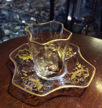 Moser glass cup & saucer, c.1890-5728