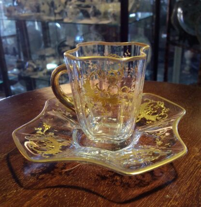 Moser glass cup & saucer, c.1890-5729