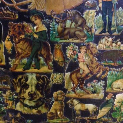 Victorian scrap screen, over 2,000 images, c.1890 -5637