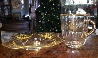 Moser glass cup & saucer, c.1890-5726
