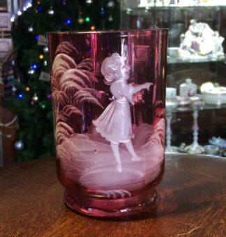 Victorian ruby glass 'Mary Gregory' type beaker c.1880-0