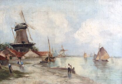 Dutch oil, coastal view with windmills, signed & dated 1899-0