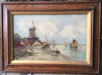 Dutch oil, coastal view with windmills, signed & dated 1899-5907