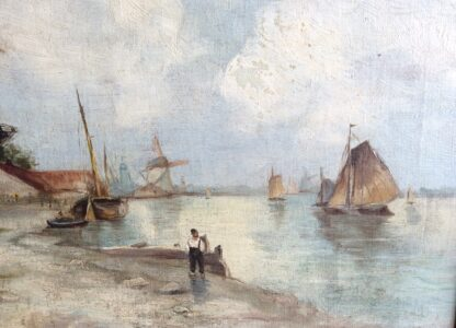Dutch oil, coastal view with windmills, signed & dated 1899-5908