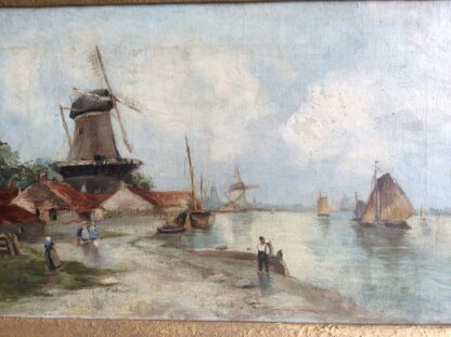 Dutch oil, coastal view with windmills, signed & dated 1899-5909