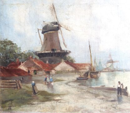 Dutch oil, coastal view with windmills, signed & dated 1899-5911
