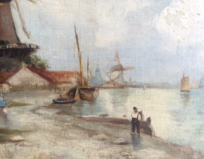 Dutch oil, coastal view with windmills, signed & dated 1899-5912