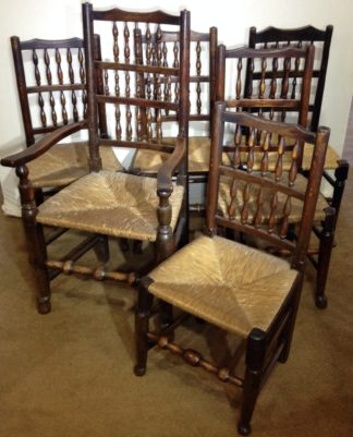 Set of 6 ash and beech spindle back dining chairs C. 1820 -0