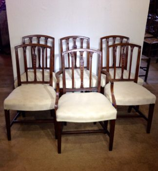 6 George III mahogany Hepplewhite chairs, C. 1790 -0