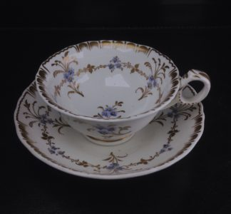 Bowers cup & saucer, pattern 245 - flower sprigs - c.1845-0