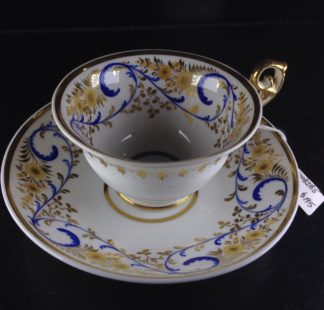 Daniel cup & saucer, painted with flowers, Ex- Lynne Price collection, C. 1835-0