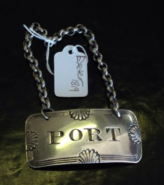 Exeter Sterling Silver Port Label, dated 1819.-0