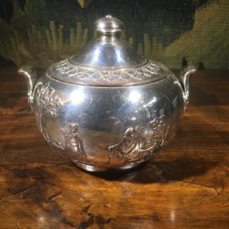 Rare Wedgwood silver plated Elkington sucrier, classical scene, c.1895 -0