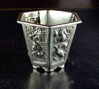Chinese colonial silver miniature 'pot plant', c.1900-0