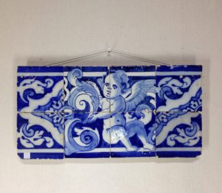 Spanish faïence tile panel with cherub, c. 1750 -0