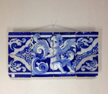 Spanish faïence tile panel with cherub, c. 1750 -0