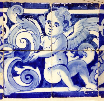 Spanish faïence tile panel with cherub, c. 1750 -6557
