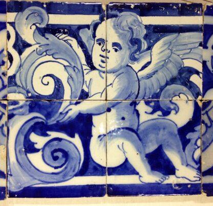 Spanish faïence tile panel with cherub, c. 1750 -6558