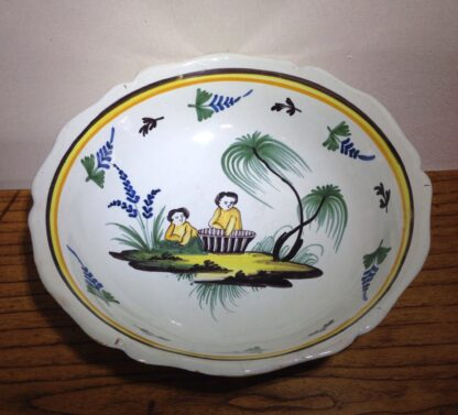 French faience basin, Children & basket, Nevers, c. 1780-0