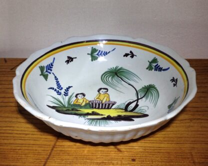 French faience basin, Children & basket, Nevers, c. 1780-6576
