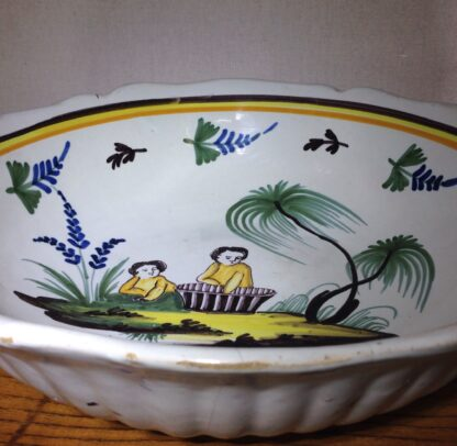French faience basin, Children & basket, Nevers, c. 1780-6578