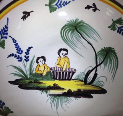French faience basin, Children & basket, Nevers, c. 1780-6579