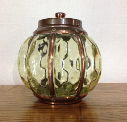 Rare Wynyates biscuit barrel, Arts & Crafts copper & glass, c.1905 -6665