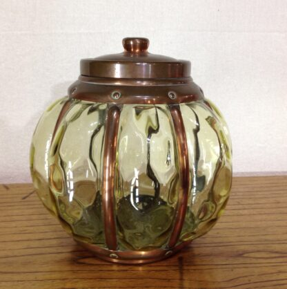 Rare Wynyates biscuit barrel, Arts & Crafts copper & glass, c.1905 -0