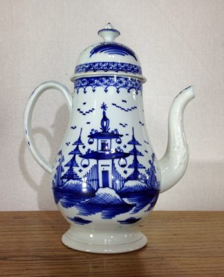 Pearlware coffee pot, moulded spout & blue pagoda scenes, c. 1770 -0