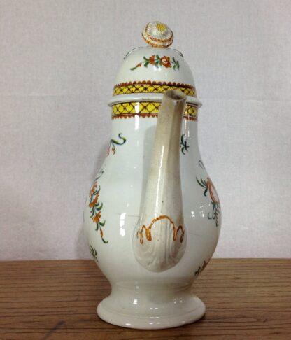 Creamware coffee pot, high fired Pratt-type colours, c.1780-6814