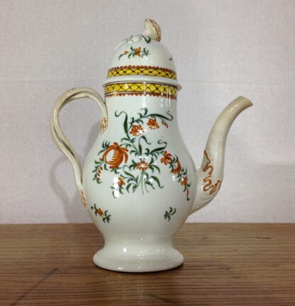 Creamware coffee pot, high fired Pratt-type colours, c.1780-6818