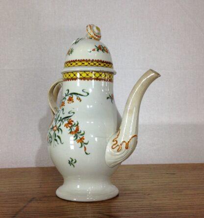 Creamware coffee pot, high fired Pratt-type colours, c.1780-6819