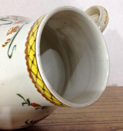 Creamware coffee pot, high fired Pratt-type colours, c.1780-6821