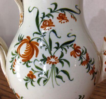 Creamware coffee pot, high fired Pratt-type colours, c.1780-6822