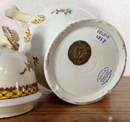 Creamware coffee pot, high fired Pratt-type colours, c.1780-6824
