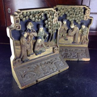 Chinese style wooden bookends , circa 1910-0